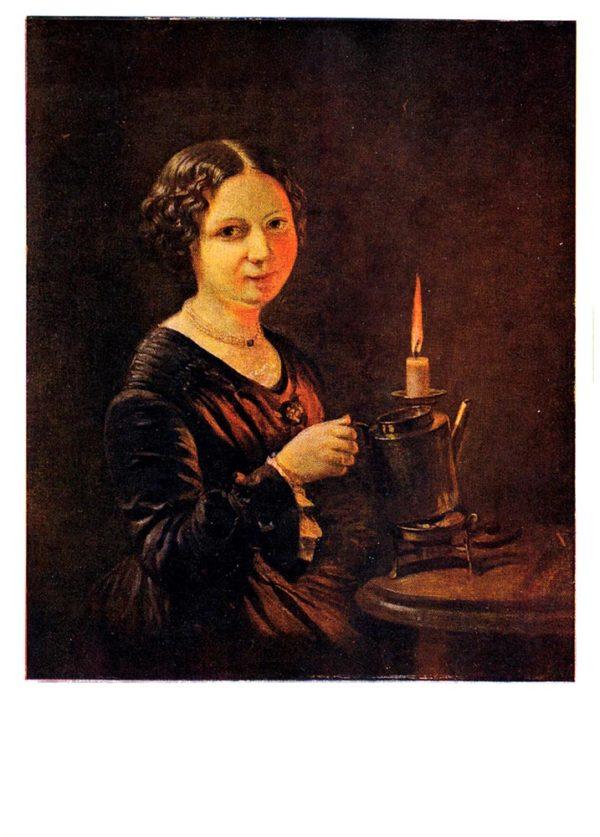 Старая открытка Девушка со свечой
