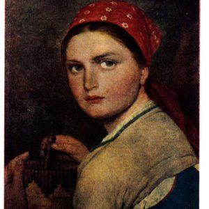 Старая открытка Девушка с бурачком