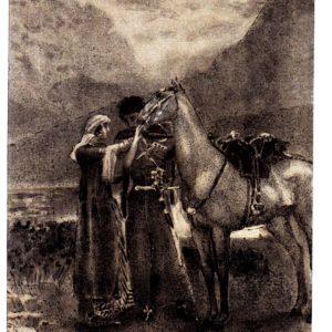 Старая открытка Уныло Зара перед ним коня походного держала