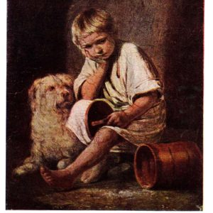 Старая открытка Вот-те и батькин обед
