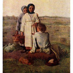 Старая открытка Крестьянские дети в поле