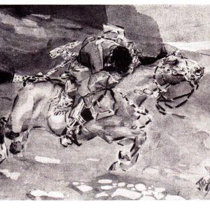 Старая открытка Несётся конь быстрее лани