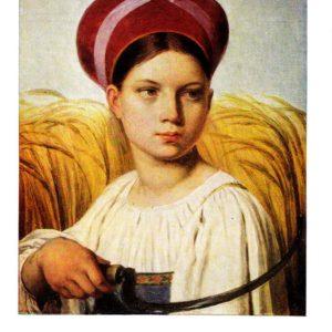 Старая открытка Жница