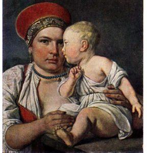 Старая открытка Кормилица с ребенком