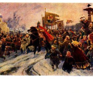 Старая открытка Въезд Александра Невского во Псков