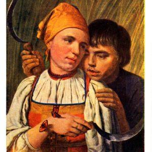 Старая открытка Жнецы