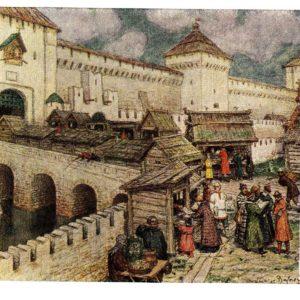 Старая открытка Книжные лавочки на Спасском мосту