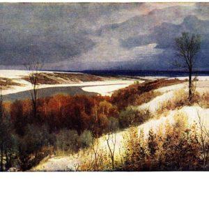 Старая открытка Ранний снег