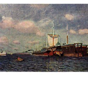 Старая открытка Свежий ветер. Волга