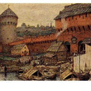 Старая открытка Спасские водяные ворота Китай-города