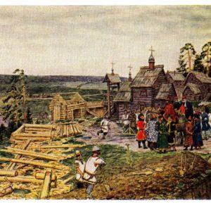 Старая открытка Строительство Кремля при Юрии Долгоруком