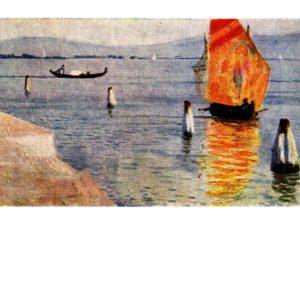 Старая открытка Лагуна. Мурано