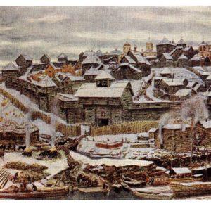 Старая открытка Кремль при Иване Калите