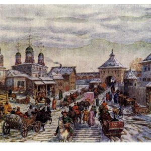 Старая открытка У Мясницких ворот