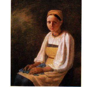 Старая открытка Крестьянка с васильками