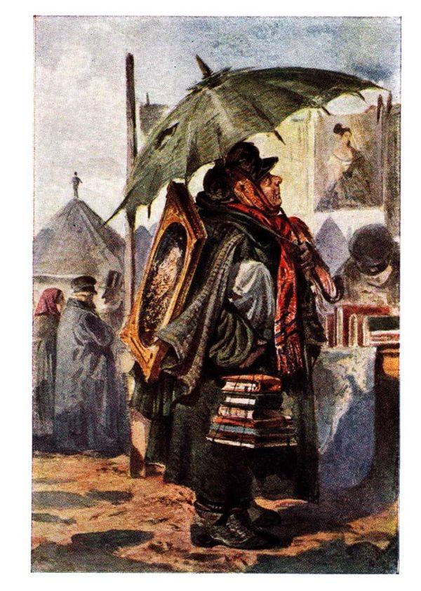 Старая открытка Собиратель картин и рисунков