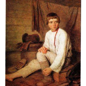 Старая открытка Крестьянский мальчик, надевающий лапти