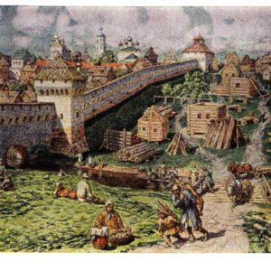 Старая открытка Лубяной торг на Трубе в конце XVII века