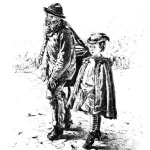 Старая открытка Шарманщик с девочкой