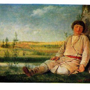 Старая открытка Спящий пастушок