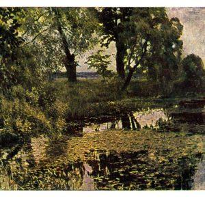Старая открытка Заглохший пруд