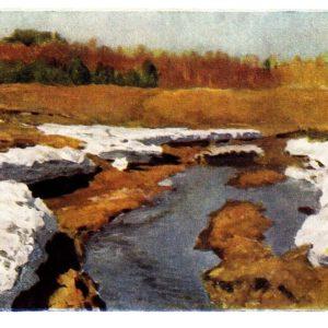 Старая открытка Последний снег