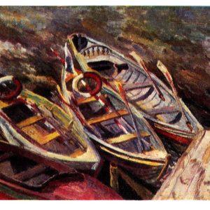 Старая открытка Лодки