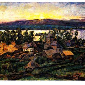 Старая открытка Закат на Волге