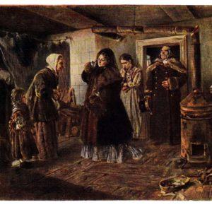 Старая открытка Посещение бедных