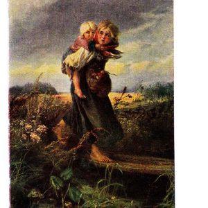 Старая открытка «Дети, бегущие от грозы»