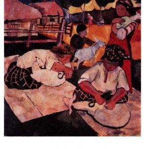 Старая открытка «Стрижка овец»
