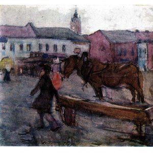 Старая открытка «Вечер в Можае»