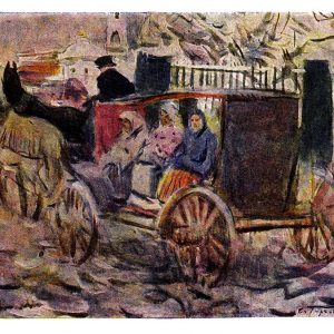 Старая открытка «Линейка. Первый снег»