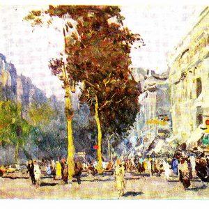 Старая открытка «Улица в Париже»