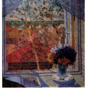 Старая открытка «Букет цветов. Окно»